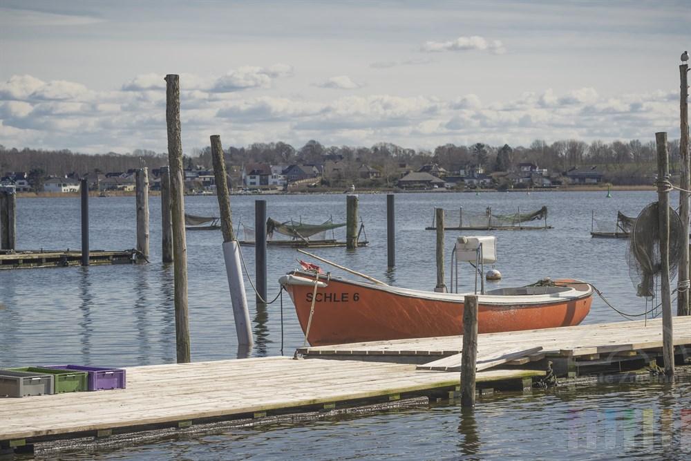 Bootssteg, Fischerboot und Netze am Schleiufer des Schleswiger Holms, der ehemaligen Fischersiedlung von Schleswig