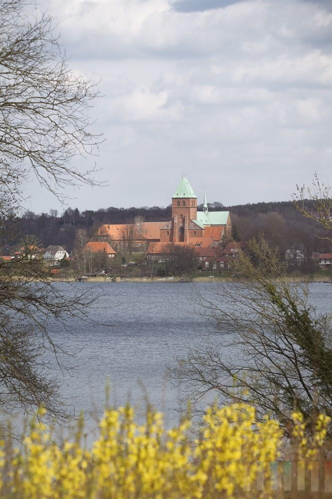 Blick auf den Dom und den Ratzeburger See, frühlingshaft