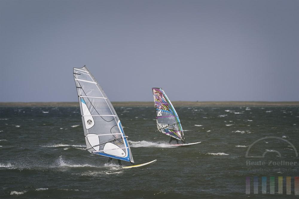 Zwei Windsurfer fahren auf der Schlei vor Maasholm um die Wette