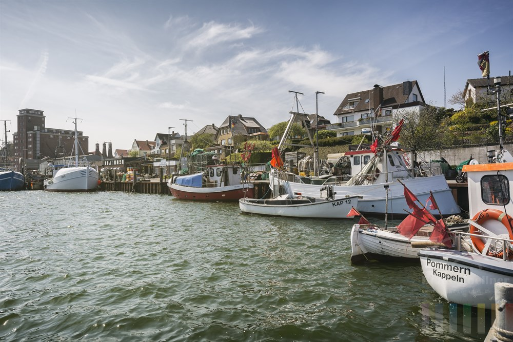 Fischkutter im Hafen von Kappeln an der Schlei, sonnig