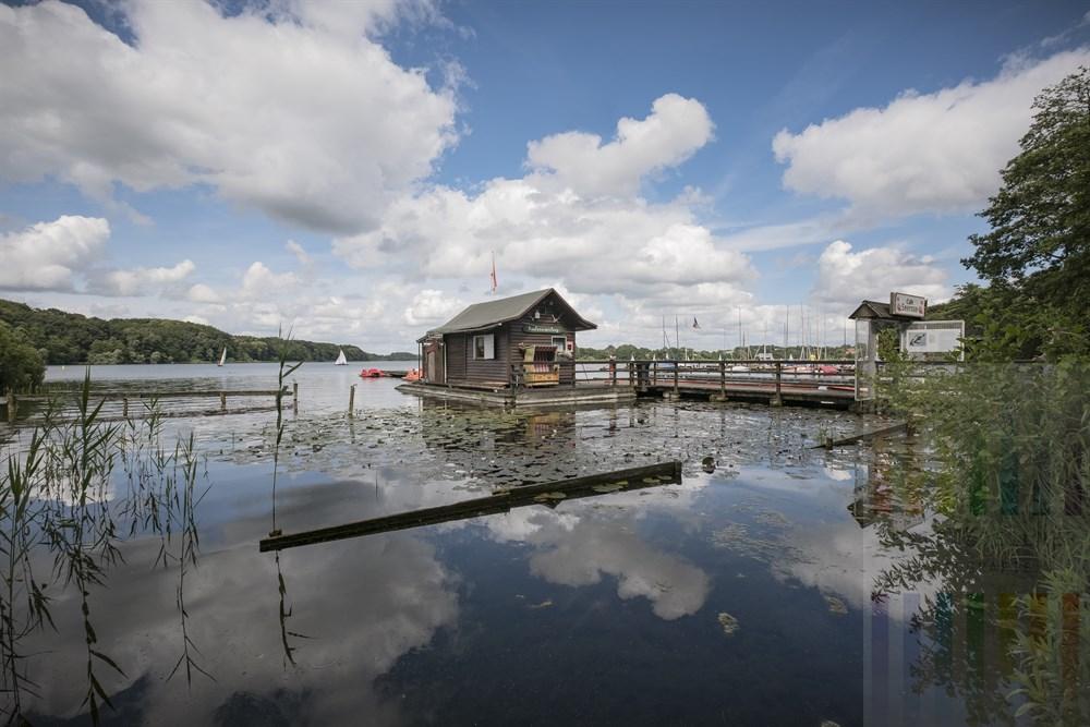 Eine Holzhütte auf einem Steg am Ufer des Großen Segeberger Sees beherbergt die örtliche Bootsvermietung. Angeschlossen ist ein kleines Café. Am Seeufer blühen Seerosen - sie gaben dem Café den Namen