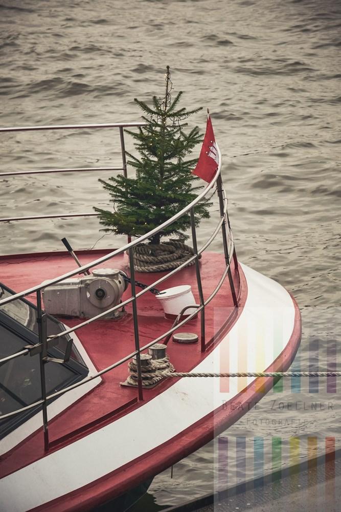 Beleuchteter Weihnachtsbaum schmückt den Bug eines Hamburger Hafenrundfahrtsschiffes auf der Elbe