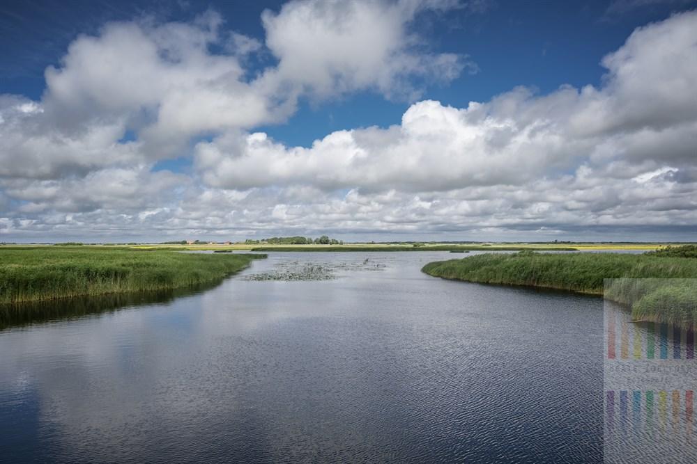 Das Flüsschen Schmale mündet in den Ruttebüller See. Ihn durchzieht die deutsch-dänische Grenze in der Nähe des Dorfes Aventoft