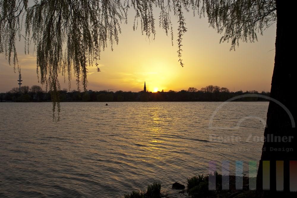 Sonnenntergang an der Hamburger Aussenalster an einem Frühlingsabend