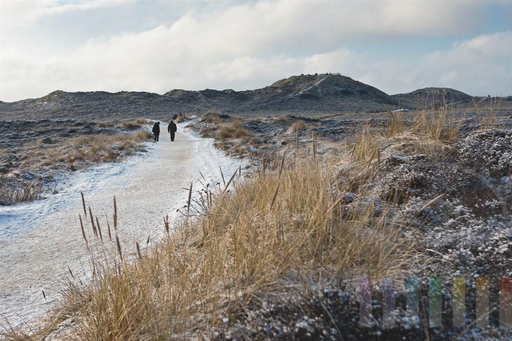 """Leicht verschneiter Weg zur Aussichts-Plattform """"Uwe-Duene"""" in Kampen/Sylt"""