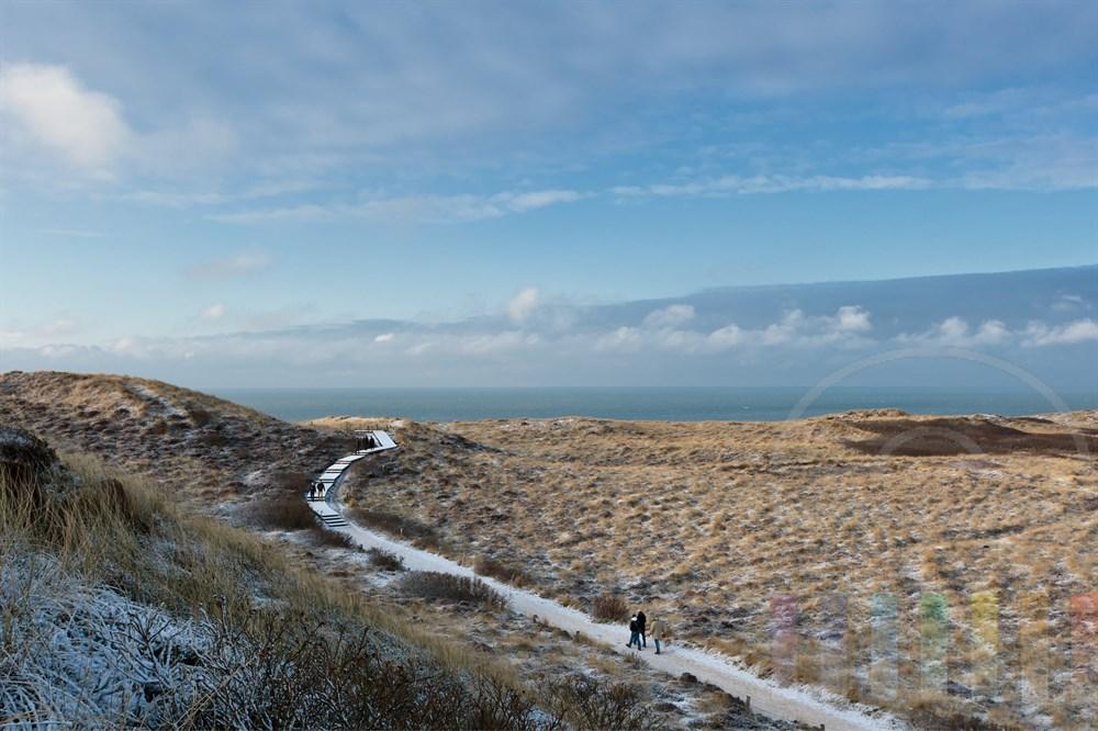 Blick von der Uwe-Duene in Kampen/Sylt auf die weite Duenenlandschaft und die Niordsee, sonnig