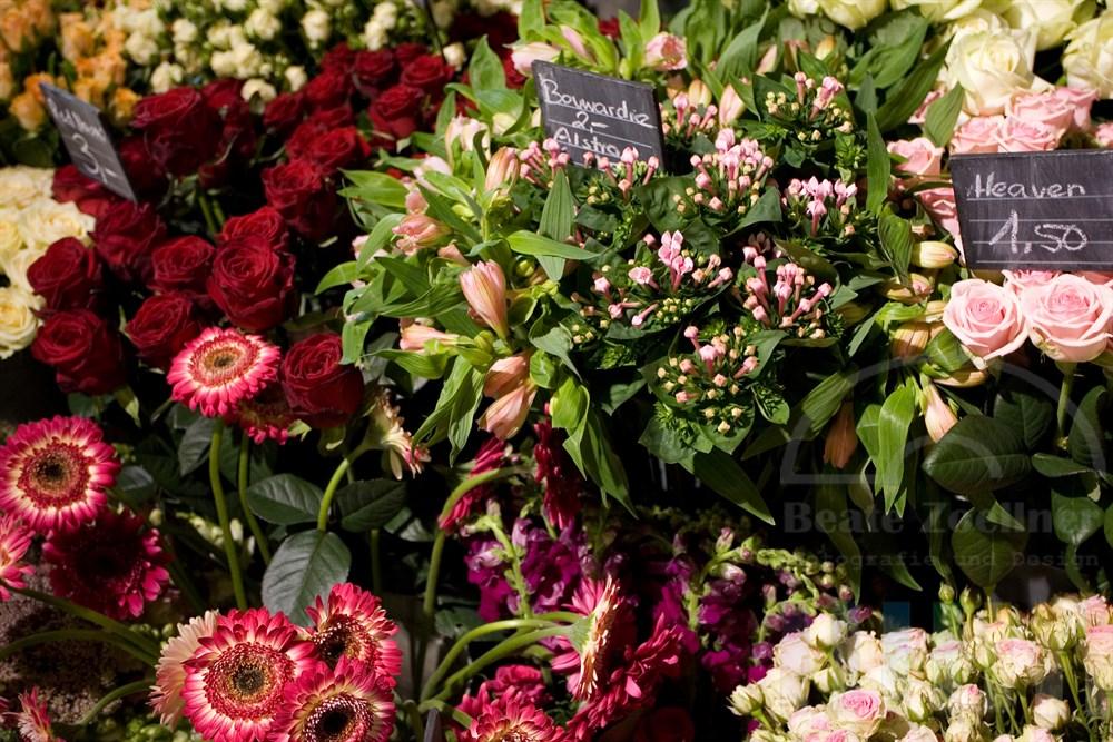 Schnittblumen verschiedener Arten stehen dichtgedrängt zusammen, die Preise stehen mit Kreide geschrieben auf kleinen Tafeln