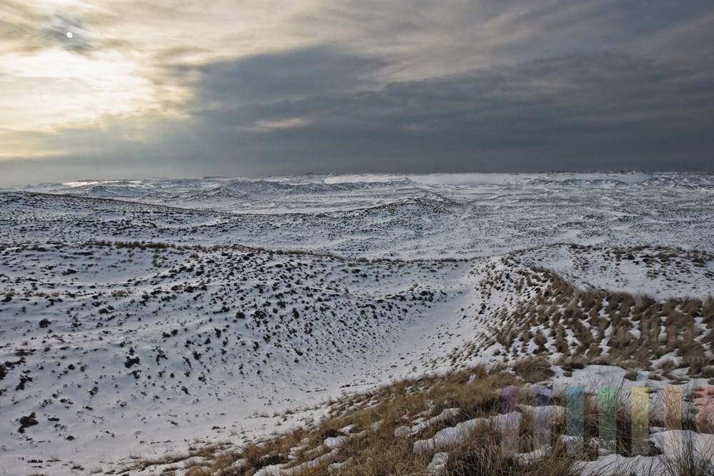 Blick überdie verschneiten Sylter Wanderdünen bei List