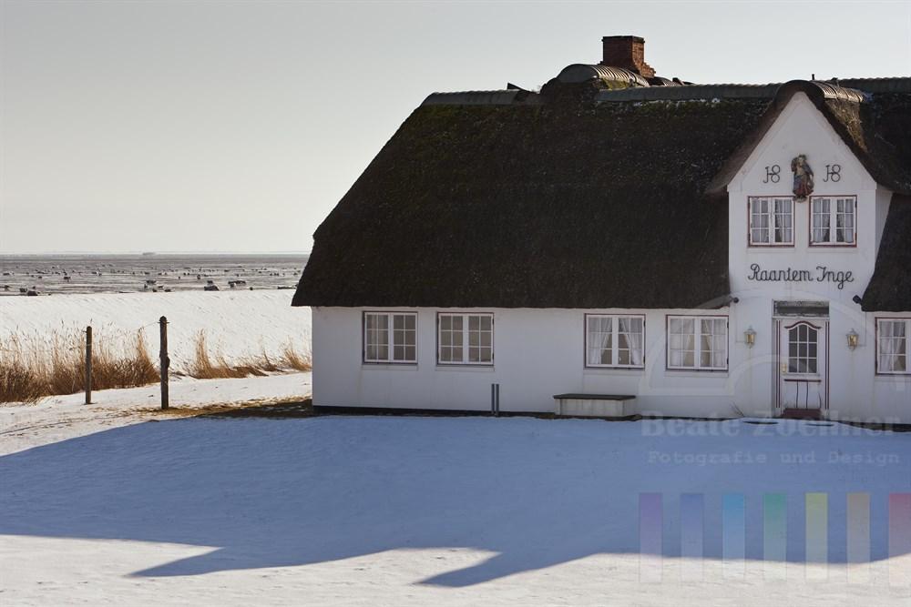 Historisches Friesenhaus in Rantum direkt am vereisten Wattenmeer im WInter, Sonnenschein