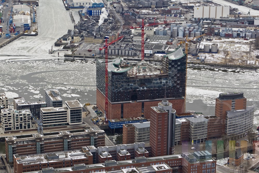 Luftfoto: Baustelle Elbphilharmonie und Kehrwiederspitze