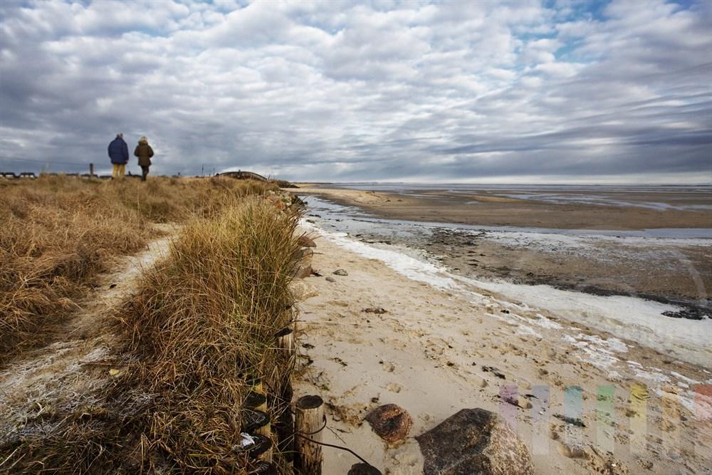 Paar in Winterkleidung geht mit Hund am Sylter Wattenmeer bei Munkmarsch entlang