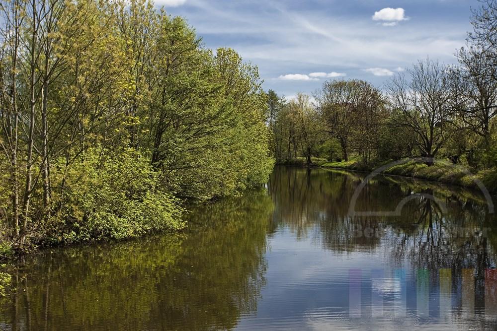 Die Dove-Elbe in den Hamburger Vier- und Marschlanden bei frühlingshaftem Wetter und Sonnenschein