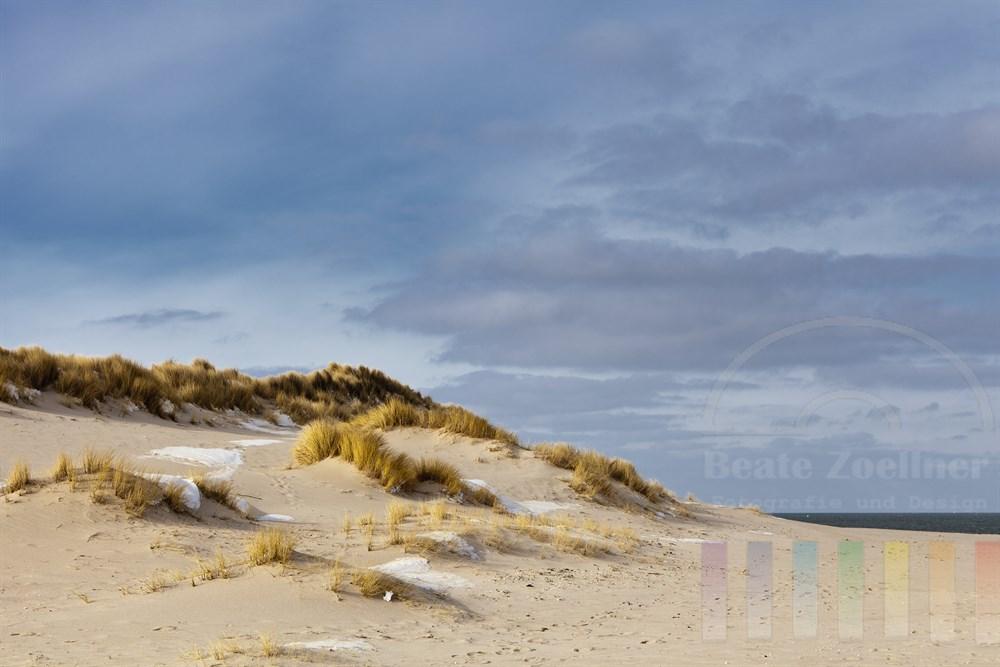 Schneereste in den Duenen im aeussersten Norden Deutschlands: Am Ellenbogen auf der Insel Sylt