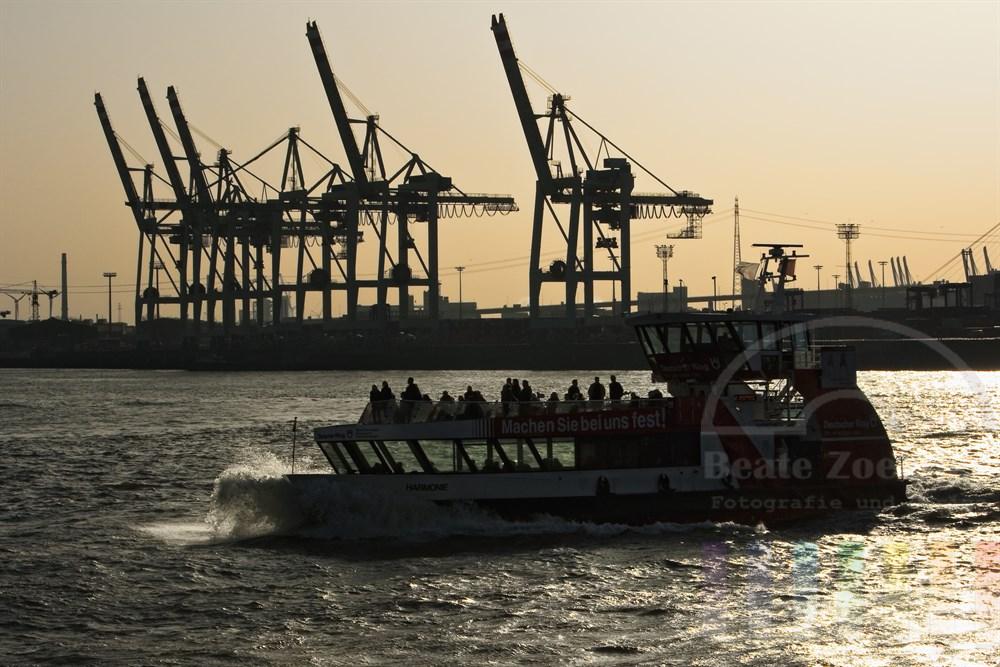 """öffentlicher Nahverkehr in Hamburg: Hafenfähre der Linie 62 fährt auf der Strecke von Finkenwerder über Landungsbrücken zur Station Sandtorhöft im Gegenlicht der Sonne. Viele Fahrgäste geniessen das gute Wetter auf dem Sonnendeck. Die Schiffe werden wegen ihrer Form im Volksmund """"Bügeleisen"""" genannt"""