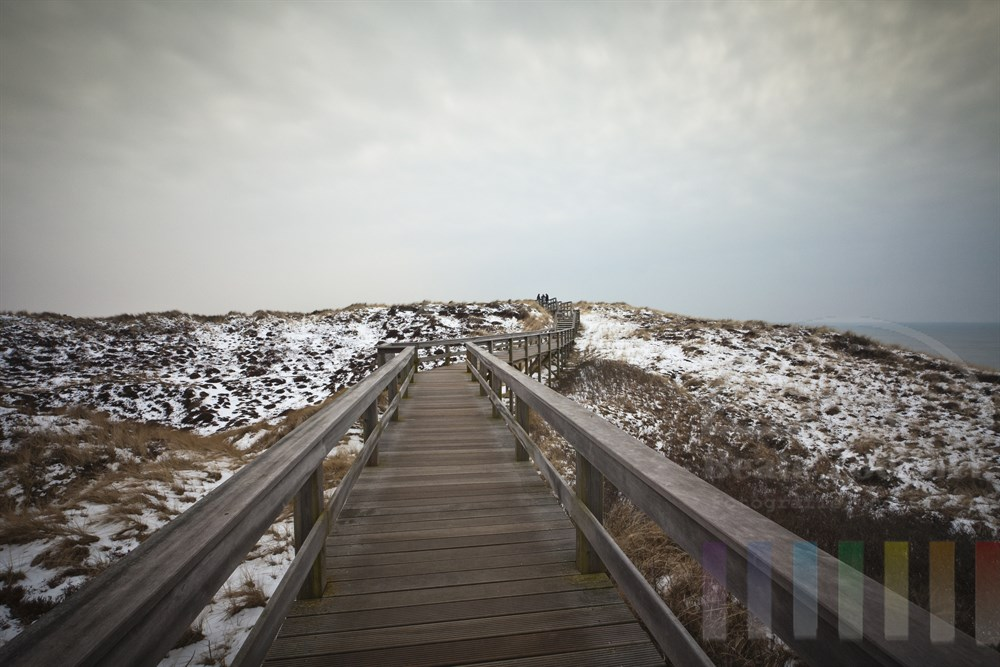 Holzweg fuehrt durch verschneite Duenen bei Wenningstedt/Sylt. Am rechten Bildrand die Nordsee, bewoelkter Himmel