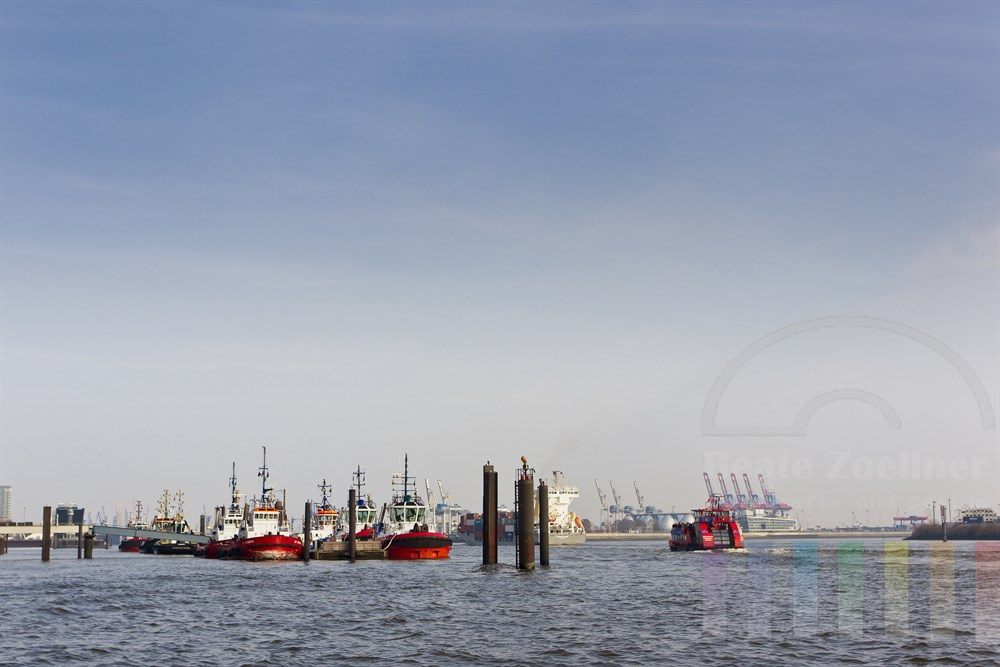 Blick ueber die Elbe in Hamburg mit Schleppern