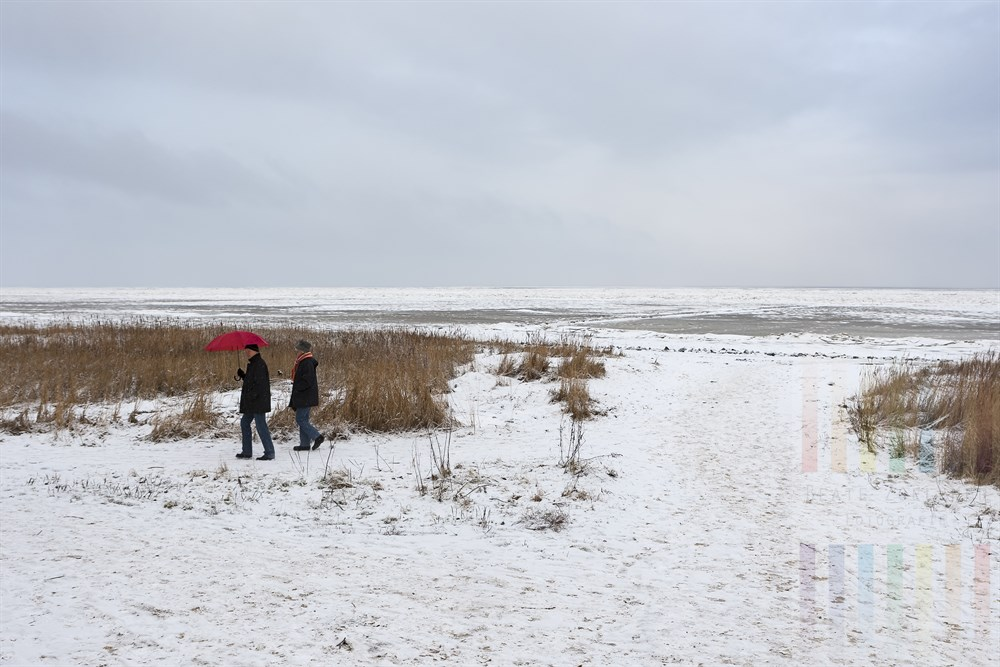 Spaziergänger im Schneegestöber am winterlichen Wattenmeer in Keitum/Sylt