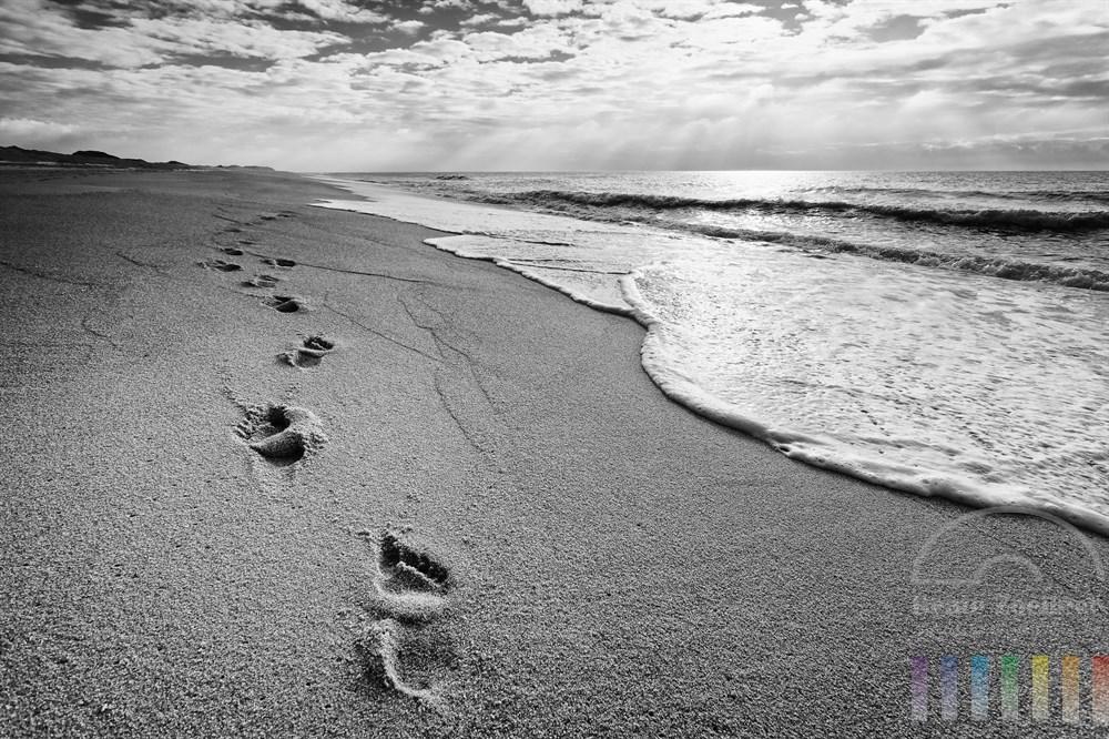 Spuren von nackten Füßen am Sylter Sandstrand - aber weit und breit ist kein Mensch zu sehen