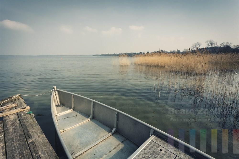 Friedlich-ruhige Frühlings-Stimmung am Selenter See (Kreis Plön). Im Vordergrund liegt ein Fischerboot am Steg, das noch wintergelbe Schilf wiegt sich im leichten Wind, die Sonne scheint