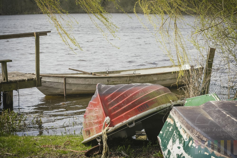 Ruderboote am Ufer der Ritzerauer Sees in Nusse (Kreis Herzogtum Lauenburg) warten auf ihren ersten Einsatz im Frühling,