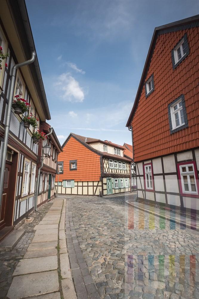 Restaurierte Fachwerkhäuser im historischen Stadtkern von Wernigerode