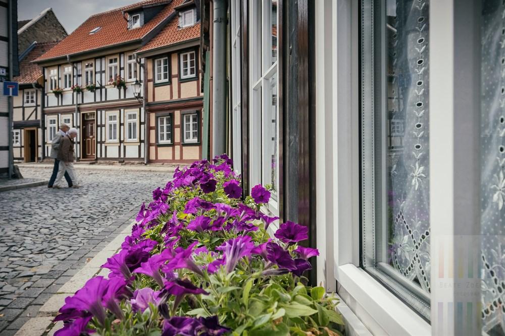 Spätsommerliche Strassenszene in der malerischen Altstadt von Wernigerode