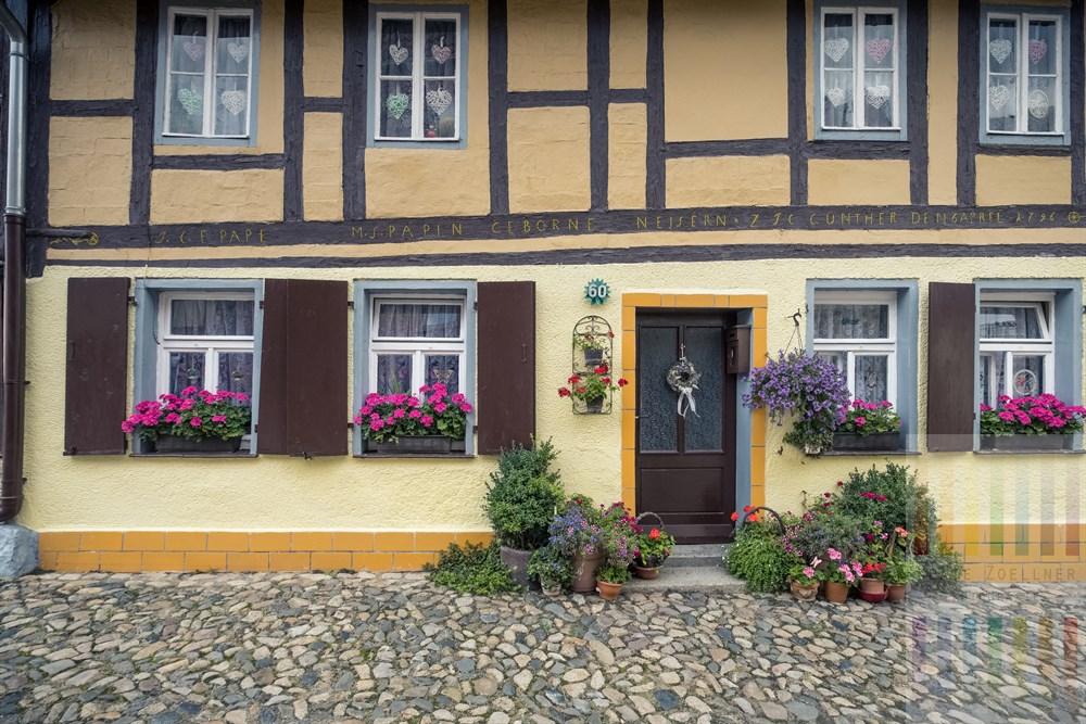 Bunt dekoriertes altes Fachwerkhaus auf dem Münzenberg in Quedlinburg