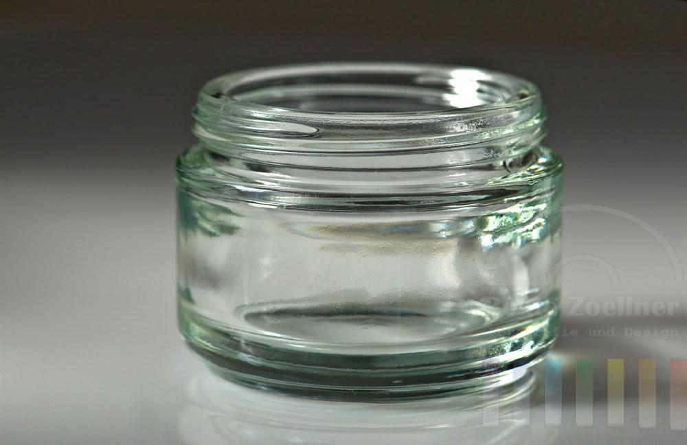 leeres Glasgefäss auf hellem Hintergrund
