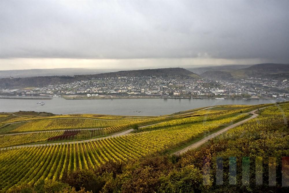 Tief haengende Regenwolken ueber dem Rhein bei Bingen (rechts). Das Laub in den Weinbergen des Rheingaus hat sich im späten Oktober schon gelb verfaerbt