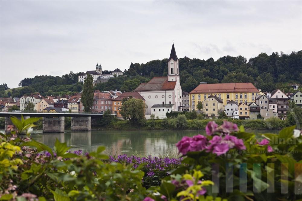 Blick ueber bluehende Sommerblumen an  der Passauer Altstadt auf das gegenueber liegende Inn-Ufer mit der Wallfahrtskirche Mariahilf oben am Hang , bewoelkt