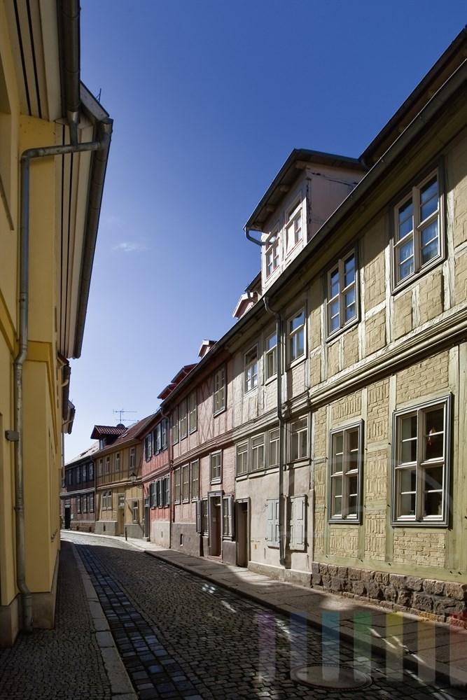 Seitengasse in der Altstadt von Quedlinburg