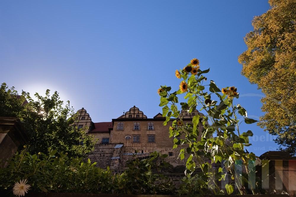 Spätsommerliche Impression der Stiftskriche St. Servatius auf dem Schlossberg der Stadt Quedlinburg, sonnige Gegenlicht