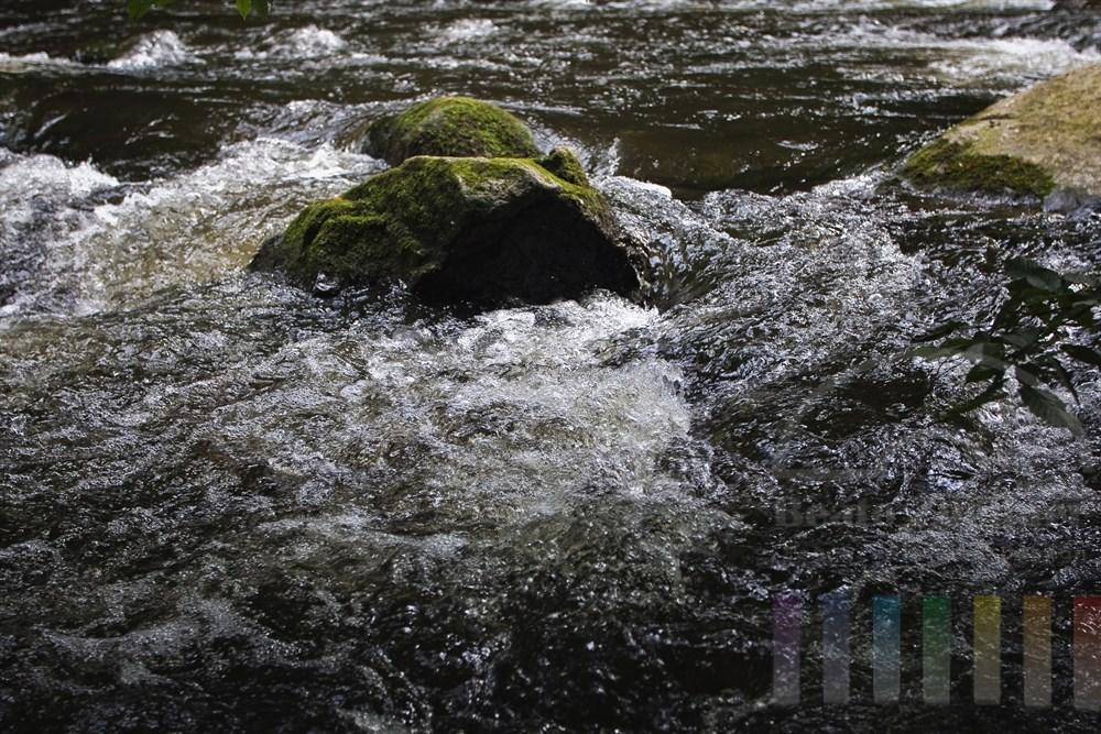 sprudelndes Wasser des Flusses Bode im Ostharz