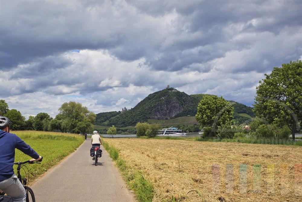 Radfahrer mit Helm und Touren-Taschen auf dem Gepaecktraeger radeln am Rhein entlang auf dem gerade ein Ausflugsschiff passiert. Am gegenueber liegenden Ufer der Drachenfels mit Drachenburg und Schloss Drachenburg, bewoelkter Himmel