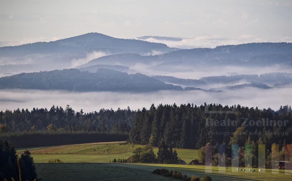 Morgensonne loest den Nebel in den Taelern des Bayerischen Waldes auf, Naehe Altreichenau