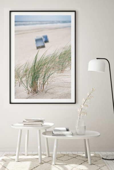 Fotodrucke gerahmter Druck. Bild mit Strand und Meer.